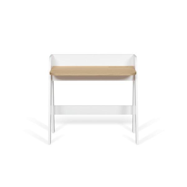 Fehér íróasztal tölgyfa díszítéssel - TemaHome