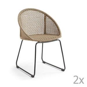Sada 2 béžových židlí La Forma Sandrine