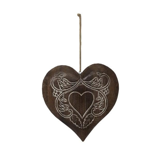 Závesná drevená dekorácia v tvare srdca Antic Line Wooden Heart