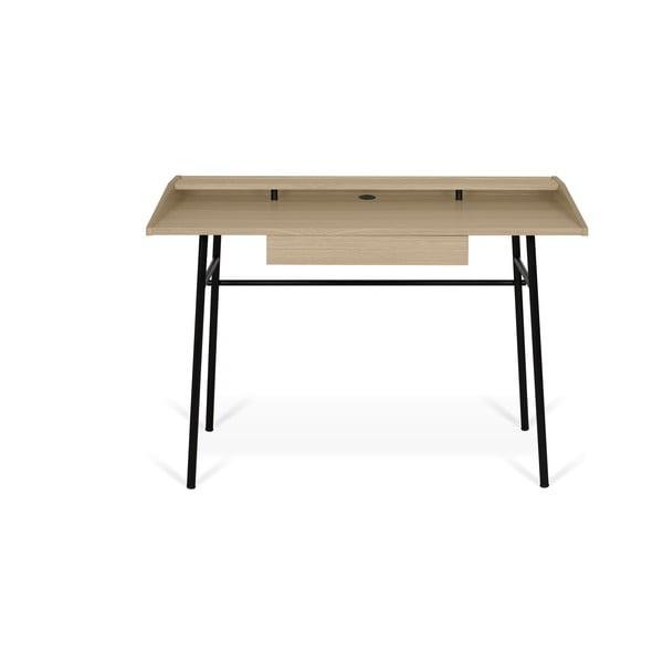 Pracovní stůl s deskou z dubu a černýma nohama TemaHome Ply, 120 x 81 cm