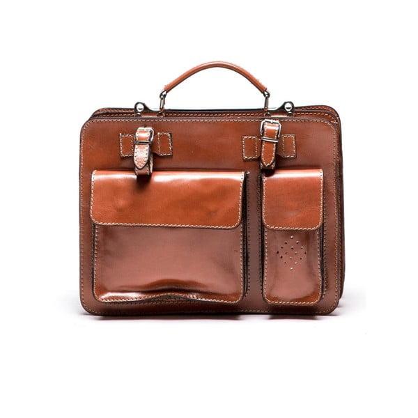 Hnědá kožená kabelka Luisa Vannini Gianna