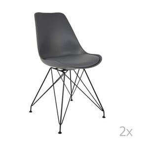 Sada 2 šedých židlí White Label Ozzy