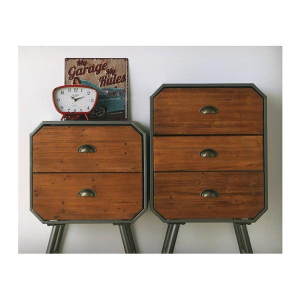 Dřevěný noční stolek s kovovými nohami a 2 zásuvkami Geese Duke