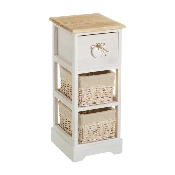 Komoda z drewna paulownia z szufladą i 2 koszykami Unimasa Jeanette, wys. 63 cm