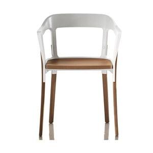 Scaun cu picioare din lemn de fag Magis Steelwood, alb