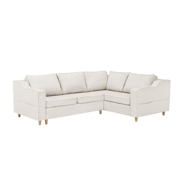 Jasnobeżowa rozkładana 4-osobowa sofa Mazzini Sofas Jonquille, prawostronna