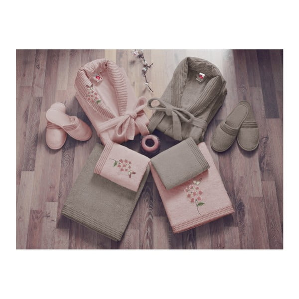 Set halate de femeie și bărbat, 2 prosoape și 2 perechi papuci Family Bath, bej - roz