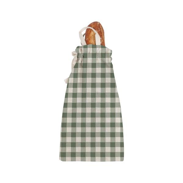 Linen Bread Bag Green Cuadros szövet pékárutartó táska - Linen Couture
