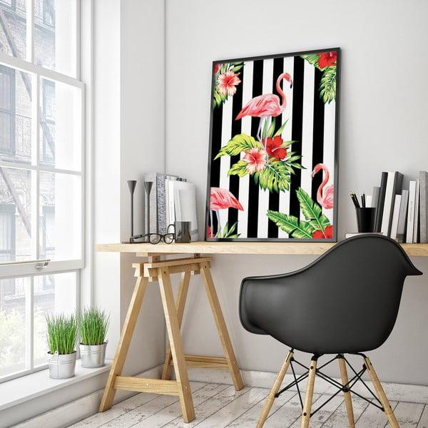 Plakát s plameňáky a květinami, černo-bílé pozadí, 30 x 40 cm