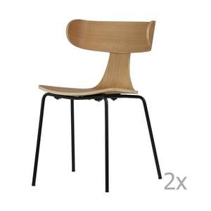 Sada 2 jídelních židlí ze světlé jasanové dýhy De Eekhoorn Form