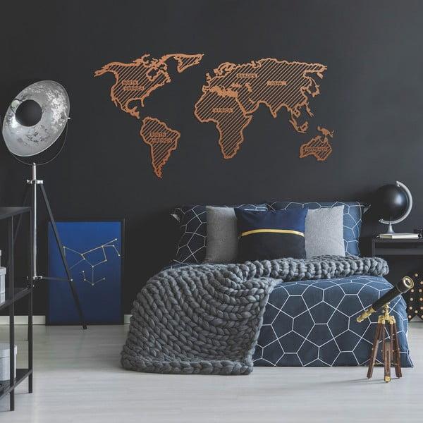 Kovová nástěnná dekorace v měděné barvě World Map In The Stripes, 120 x 65 cm
