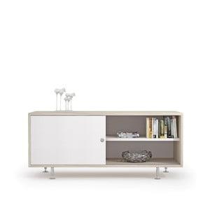 TV komoda v dekoru jilmového dřeva s bílými dvířky Terraneo