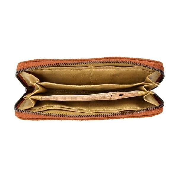 Koňakově hnědá kožená peněženka Mangotti Bags Hermosa
