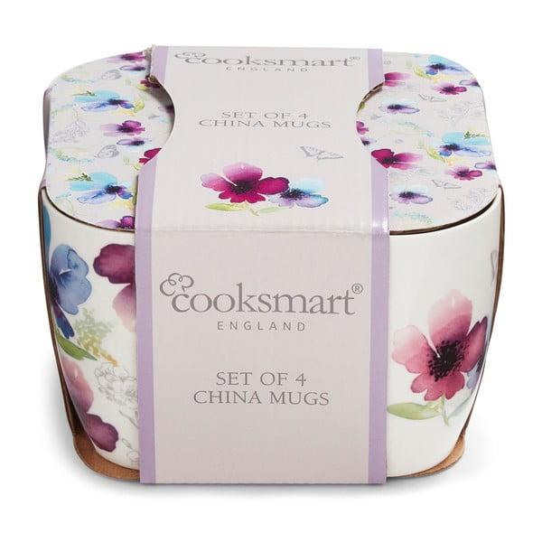 Sada 4 porcelánových hrnků Cooksmart England Chatsworth Floral, 200 ml
