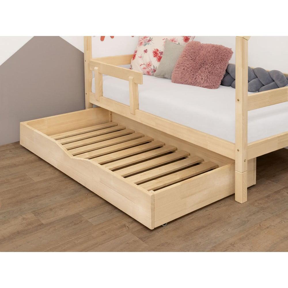 Přírodní dřevěný šuplík pod postel s roštem a plným dnem Benlemi Buddy, 90 x 140 cm