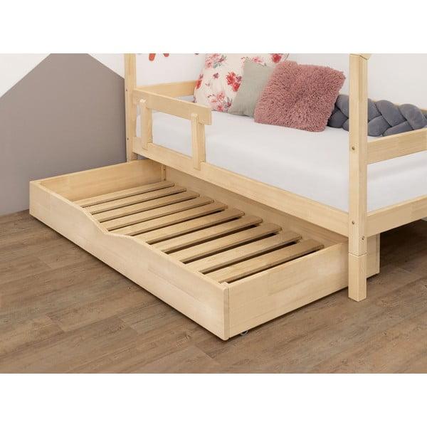 Naturalna drewniana szuflada pod łóżko ze stelażem Benlemi Buddy, 90x160 cm