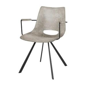 Šedá jídelní židle s černým podnožím a područkami Canett Coronas