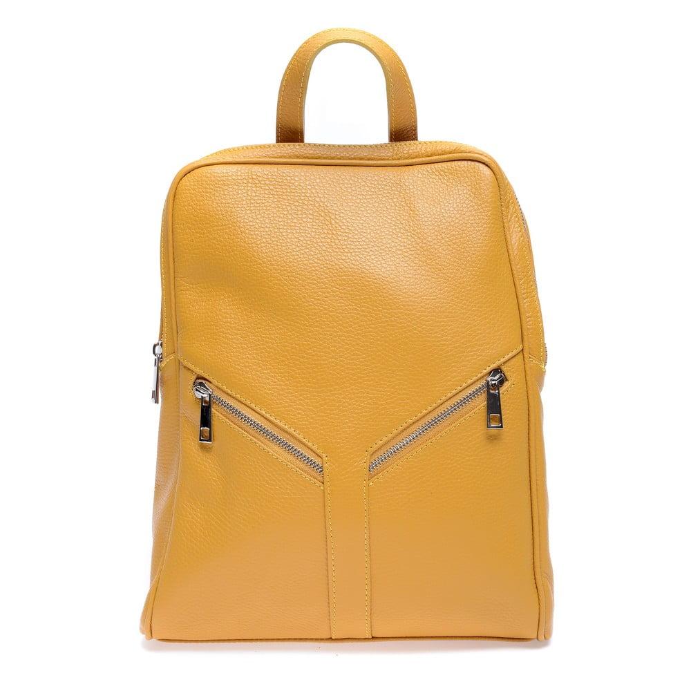 Žlutý kožený batoh Roberta M Linda