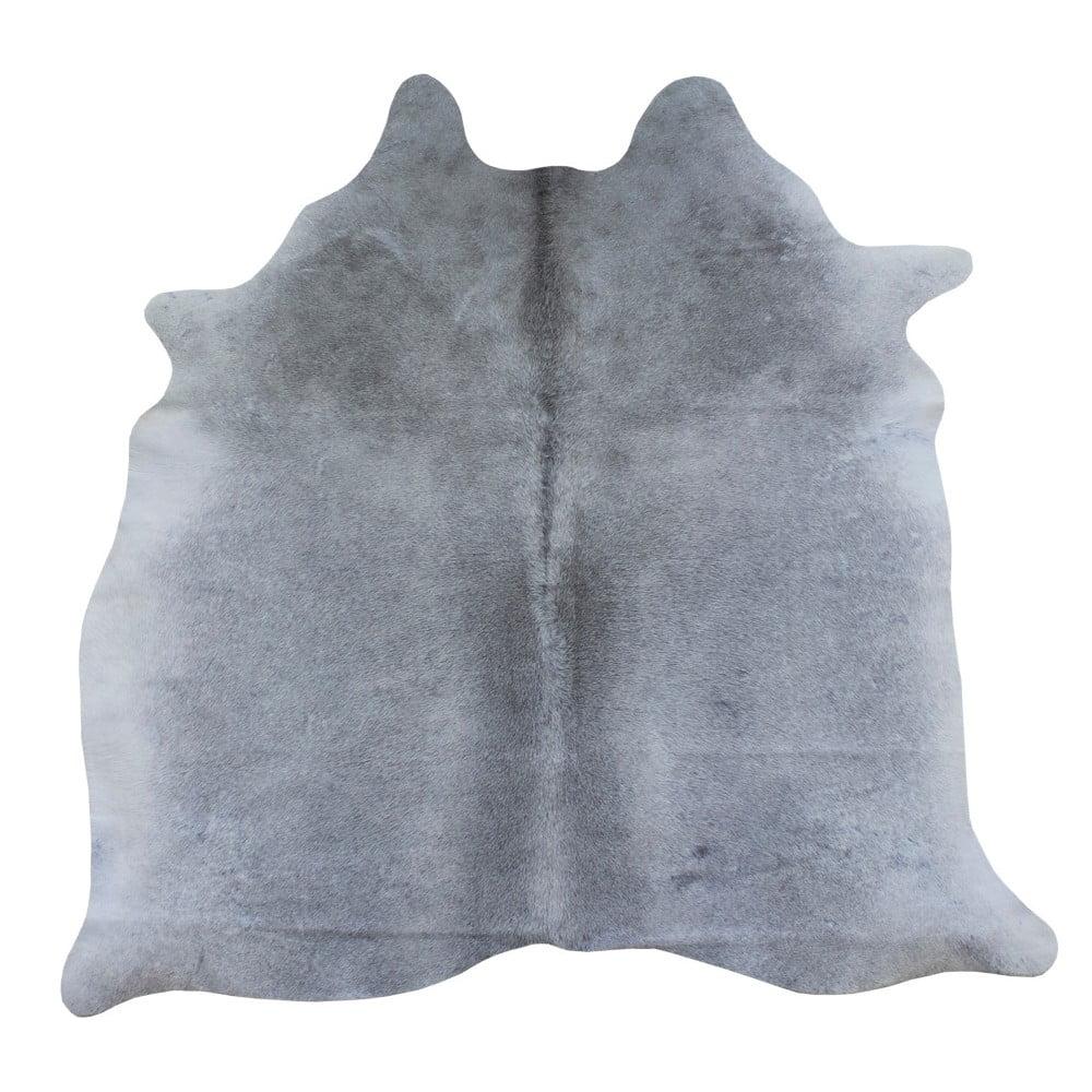 Šedý koberec z hovězí kůže, 167 x 155 cm