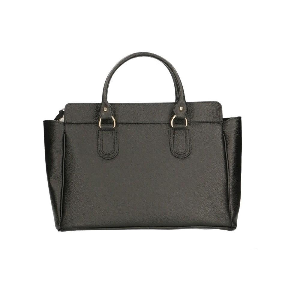 Černá kožená kabelka Chicca Borse Cabello
