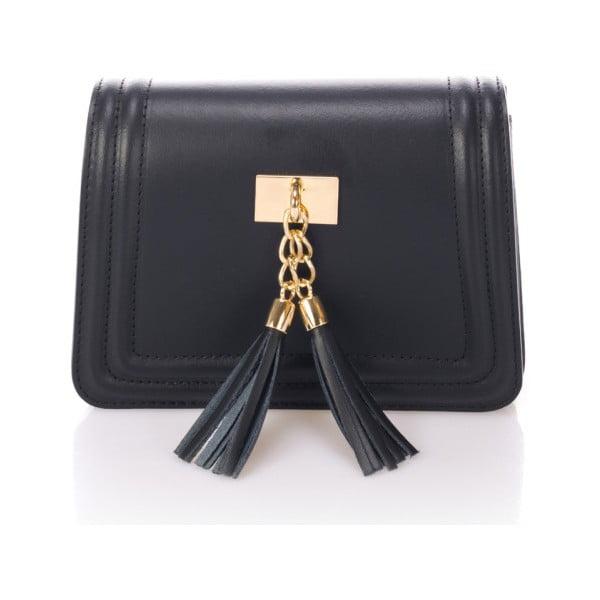 Čierna kožená listová kabelka Giorgio Costa Abelia