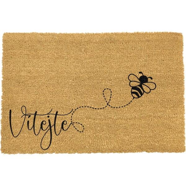 Rohožka z prírodného kokosového vlákna ARTS Doormats Včela, 40 x 60 cm