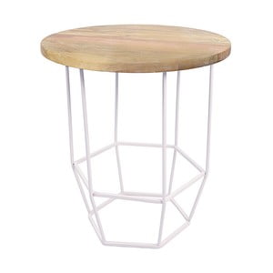 Bílý stolek se snímatelnou deskou z mangového dřeva HF Living Hexa White