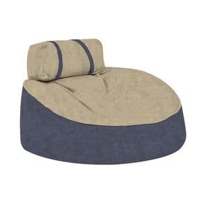 Modrý sedací puf s okrovým vrškem Poufomania Cookie
