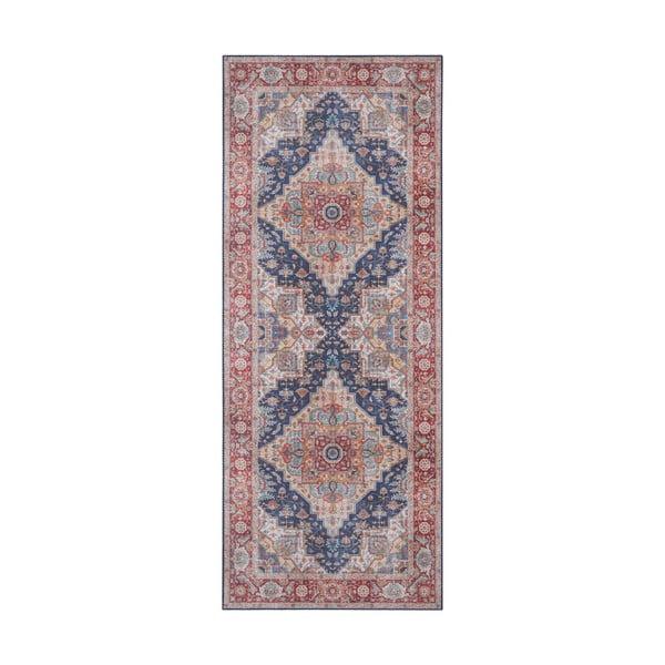Covor Nouristan Sylla, 80 x 200 cm, roșu - albastru închis