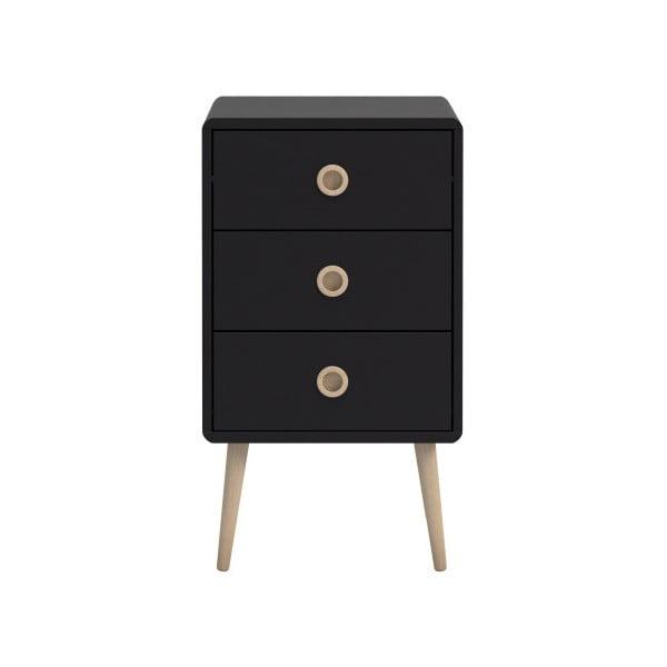 Czarna komoda z 3 szufladami Steens Soft Line, 73,2x41,4 cm