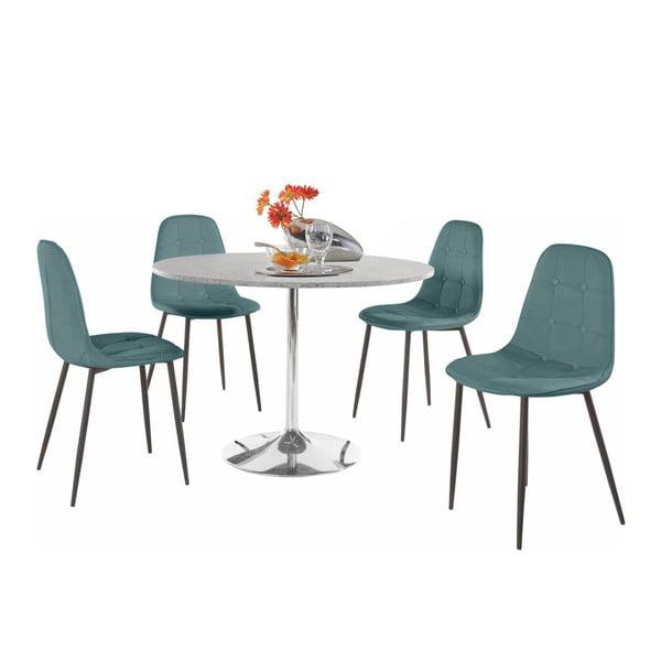 Sada kulatého jídelního stolu a 4 tyrkysových židlí Støraa Terri Concrete