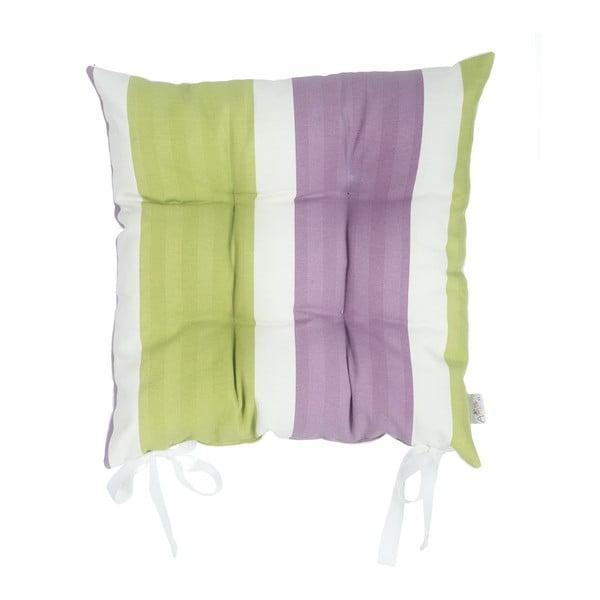 Zielono-fioletowa poduszka na krzesło Apolena Stripes, 43x43cm