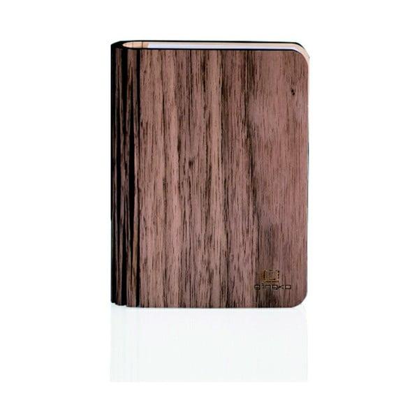 Veioză din lemn de nuc cu LED Gingko Walnut Mini, formă de carte, maro închis