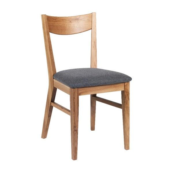 Brązowe dębowe krzesło do jadalni z jasnoszarym siedziskiem Rowico Dylan