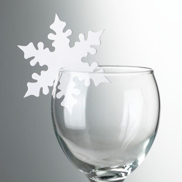 Sada 10 ozdob na skleničky Neviti White Snowflake