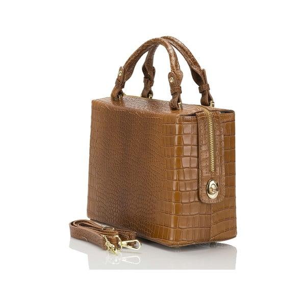 Koňakově hnědá kožená kabelka Lisa Minardi Luciano