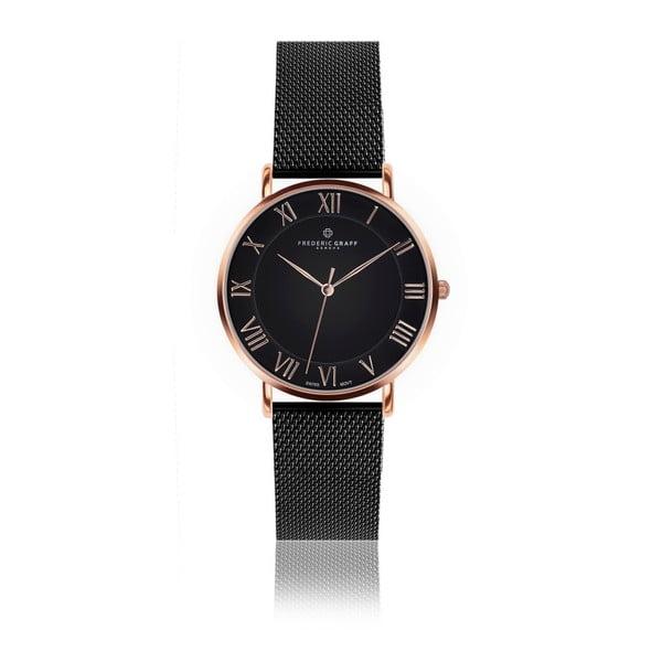 Unisex hodinky s remienkom z antikoro ocele v čiernej farbe Frederic Graff Brait