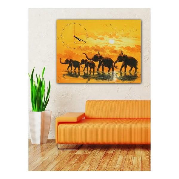 Obraz s hodinami Afričtí sloni, 60x40 cm