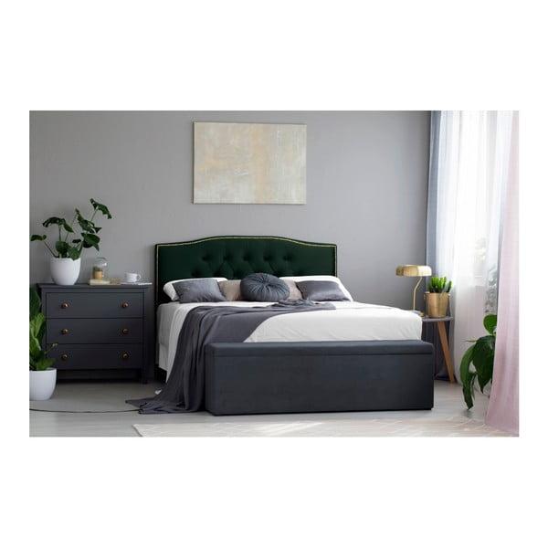Láhvově zelené čelo postele Mazzini Sofas Anette, 140 x 120 cm
