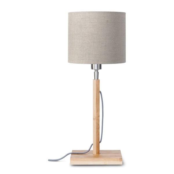 Fuji asztali lámpa bézs búrával és bambusz lámpatesttel - Good&Mojo