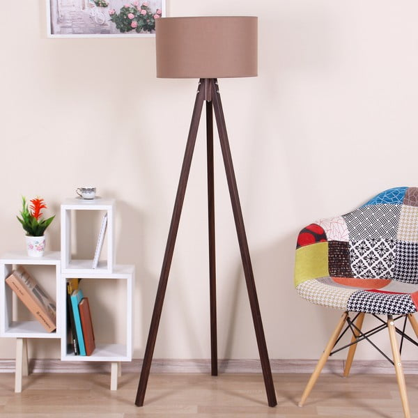 Hnedá voľne stojacia lampa so svetlohnedým tienidlom Kate Louise Celina