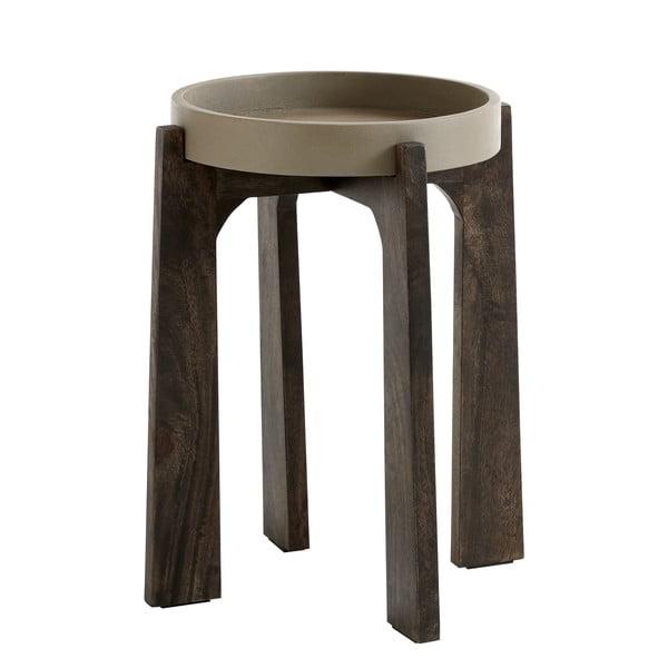 Betonový konferenční stolek s nohami z mangového dřeva Fuhrhome Vienna