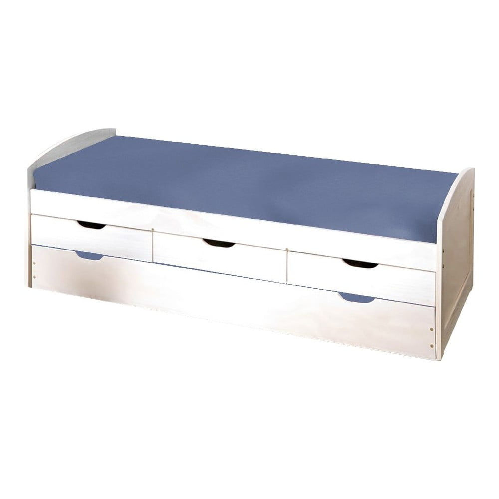Bílá dřevěná postel s úložným prostorem 13Casa Art Moon, 90 x 190 cm