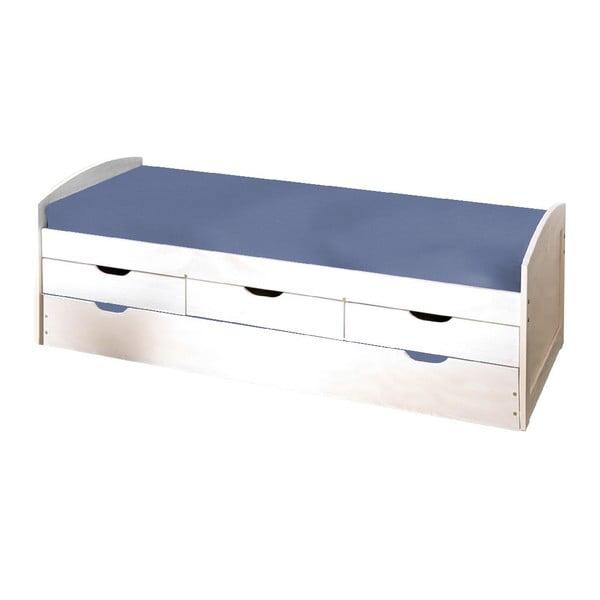 Bílá dřevěná postel s úložným prostorem 13Casa Art Moon, 90x190cm