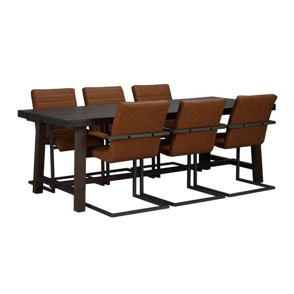 Tmavě hnědý dubový jídelní stůl Folke Brooklyn