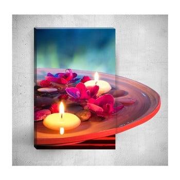 Tablou de perete 3D Mosticx Candles With Flowers, 40 x 60 cm