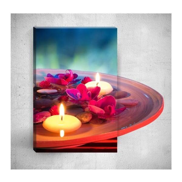 Nástěnný 3D obraz Mosticx Candles With Flowers, 40 x 60 cm