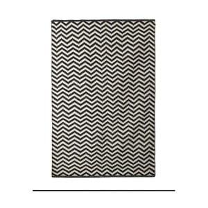 Černobílý bavlněný ručně tkaný koberec Pipsa Zigzag, 140x200 cm