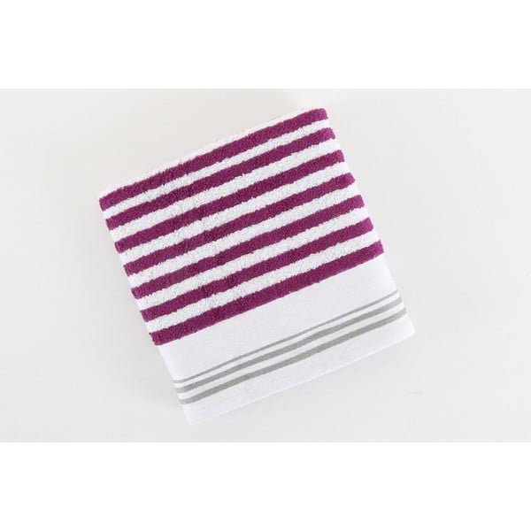 Fialovo-bílý bavlněný ručník BHPC Cotton, 50x100 cm