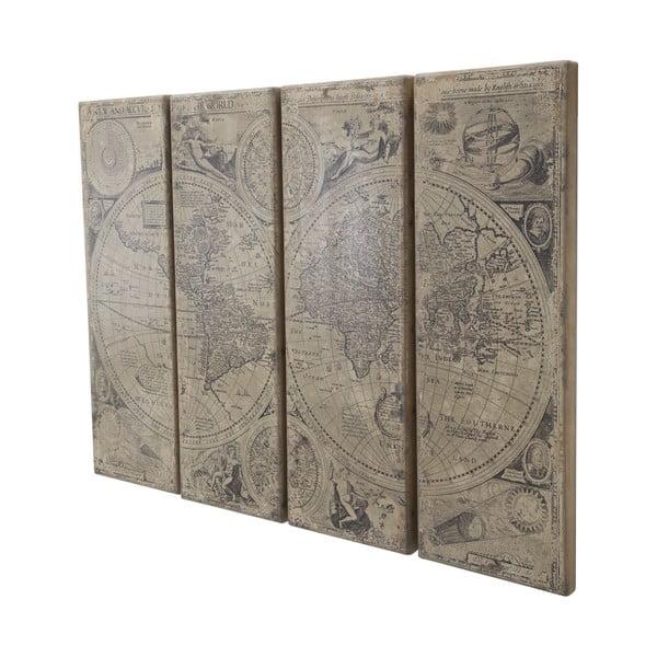 Čtyřdílná dřevěná nástěnná dekorace Mauro Ferretti Columbus Map Lux,240x180cm